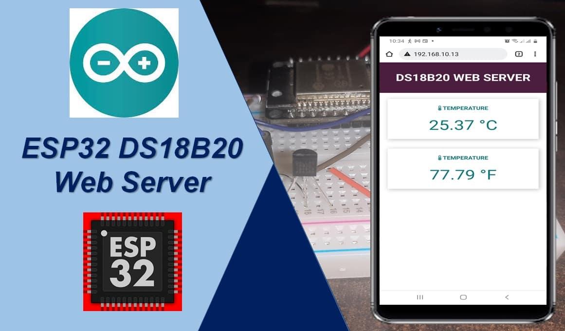 DS18B20 web server esp32 arduino ide