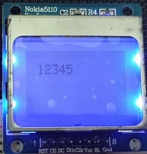 ESP32 Nokia 5110 LCD display digits numbers