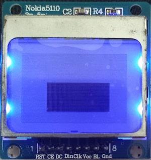 ESP32 Nokia 5110 LCD display filled rectangle