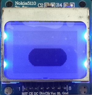 ESP32 Nokia 5110 LCD display rounded rectangle filled
