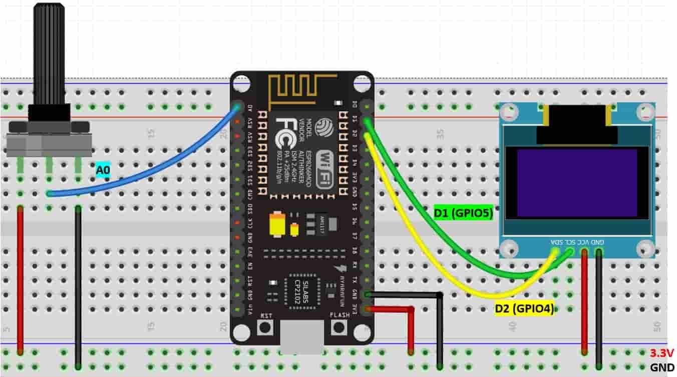 ESP8266 ADC and POT interfacing circuit diagram