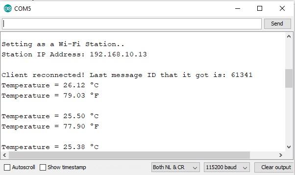 ESP8266 DS18B20 web server ip address