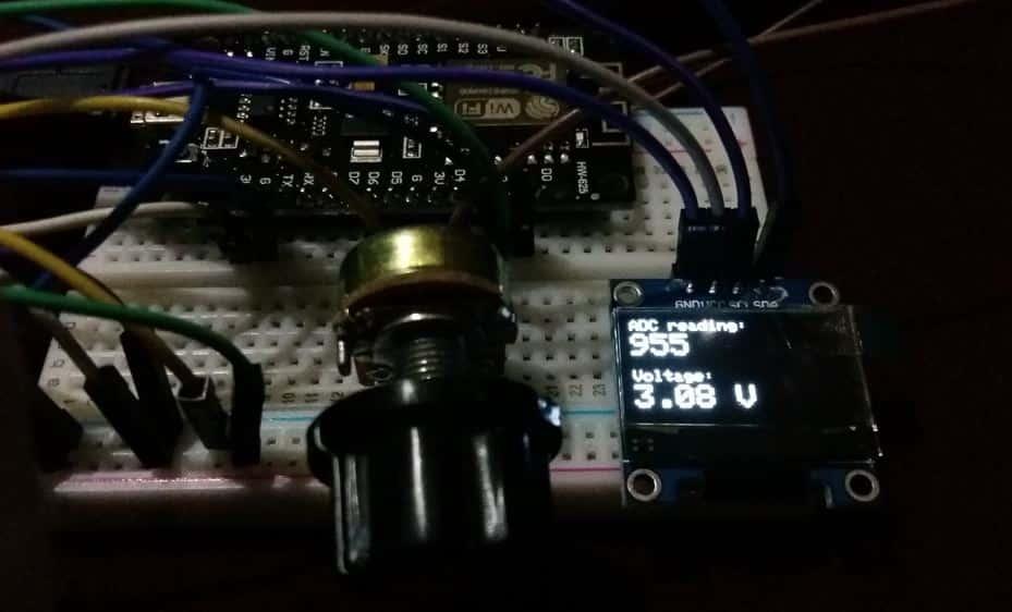 ESP8266 NodeMCU ADC display voltage readings on OLED demo