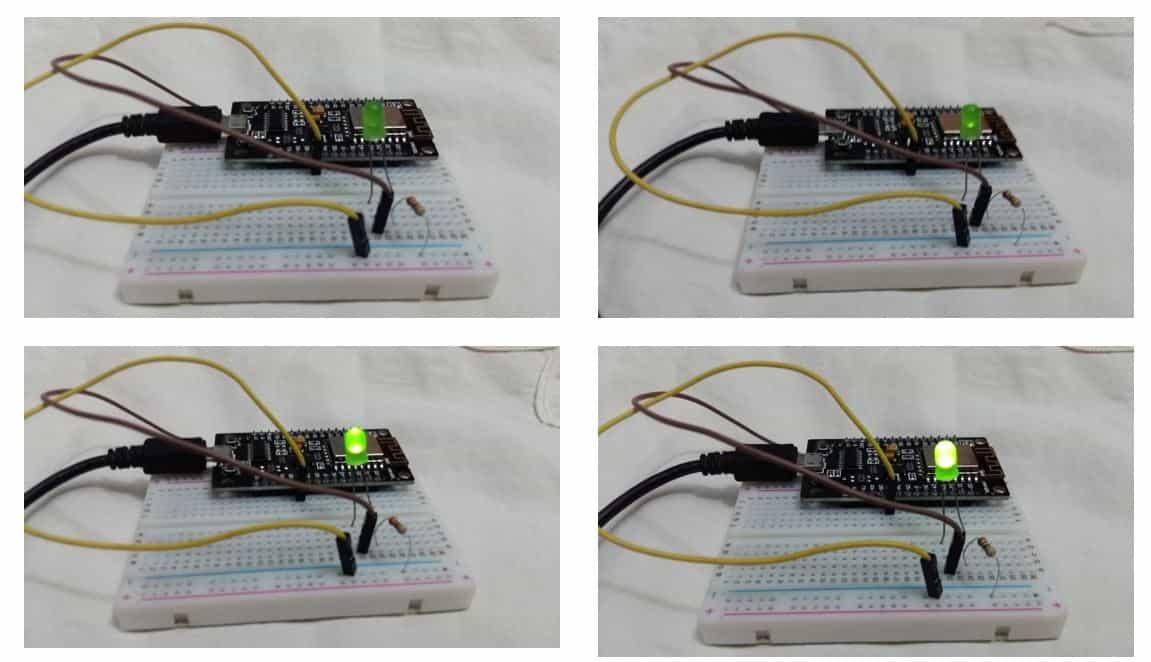 ESP8266 NodeMCU PWM LED fading example Arduino ide