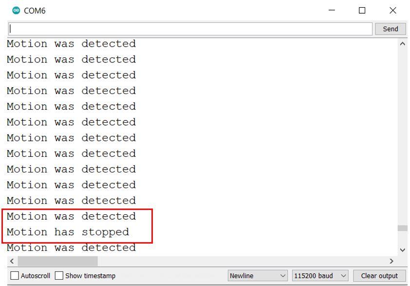 ESP8266 interrupts with PIR motion sensor demo serial monitor