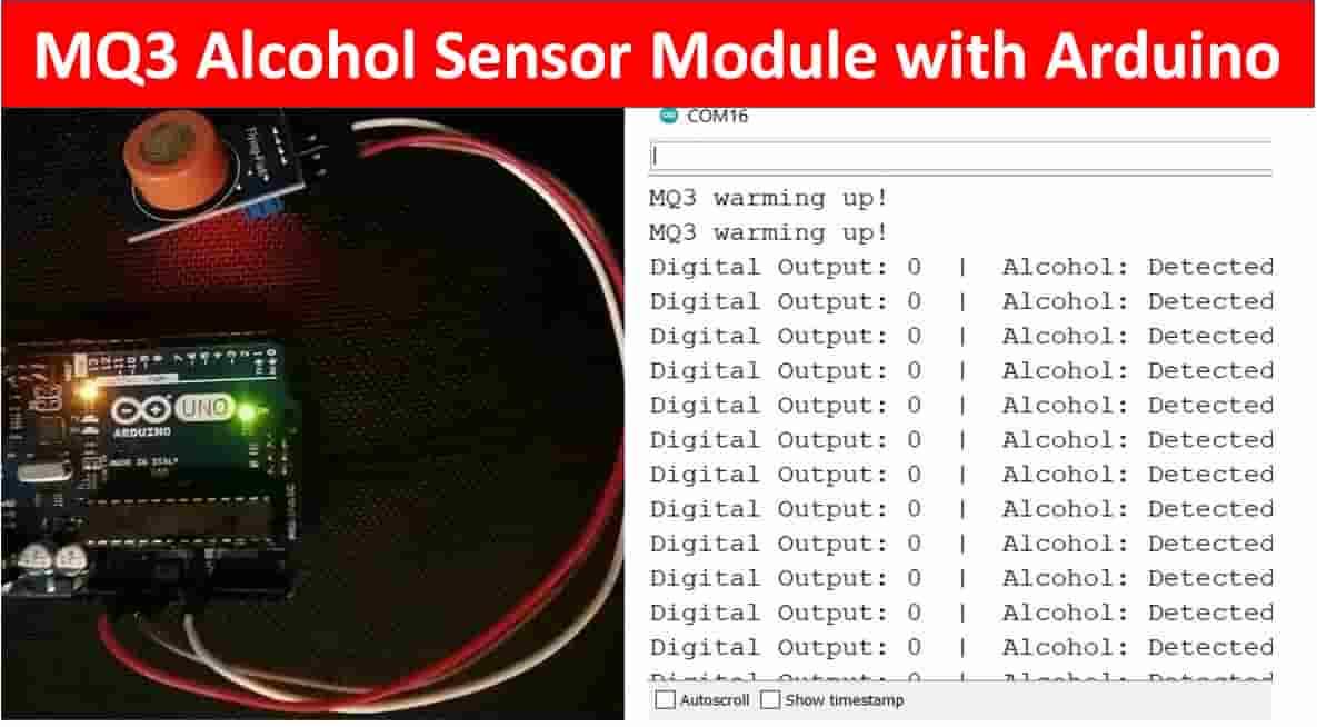 Interface MQ3 Alcohol Sensor Module with Arduino