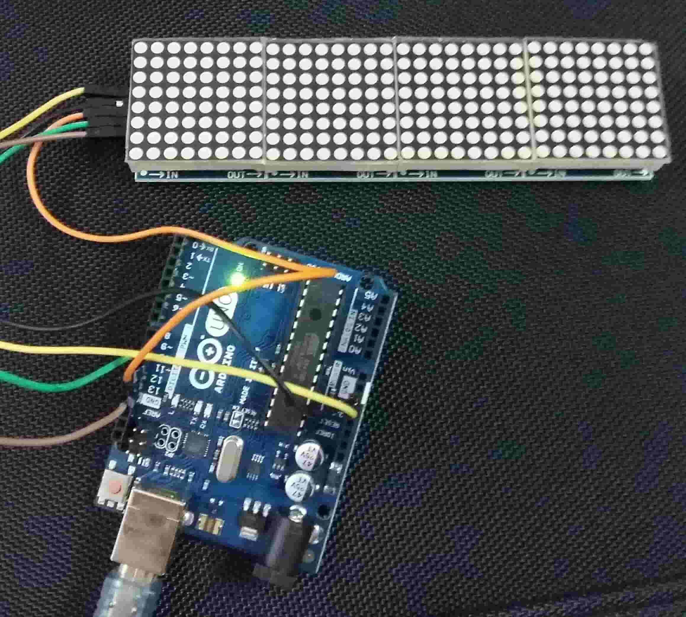 MAX7219 LED dot matrix display module with Arduino
