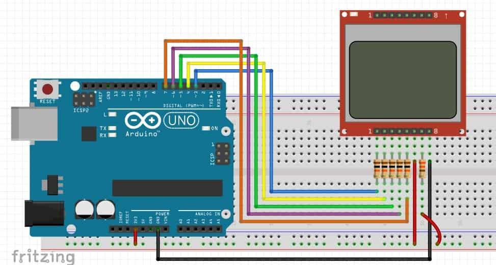 Noki 5110 LCD interfacing with Arduino tutorial