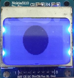 Nokia 5110 LCD display solid circle
