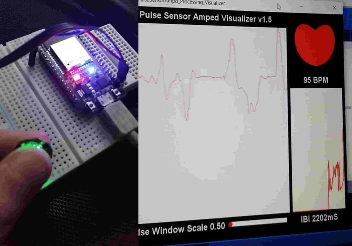 Pulse sensor with ESP32 detect heart rate