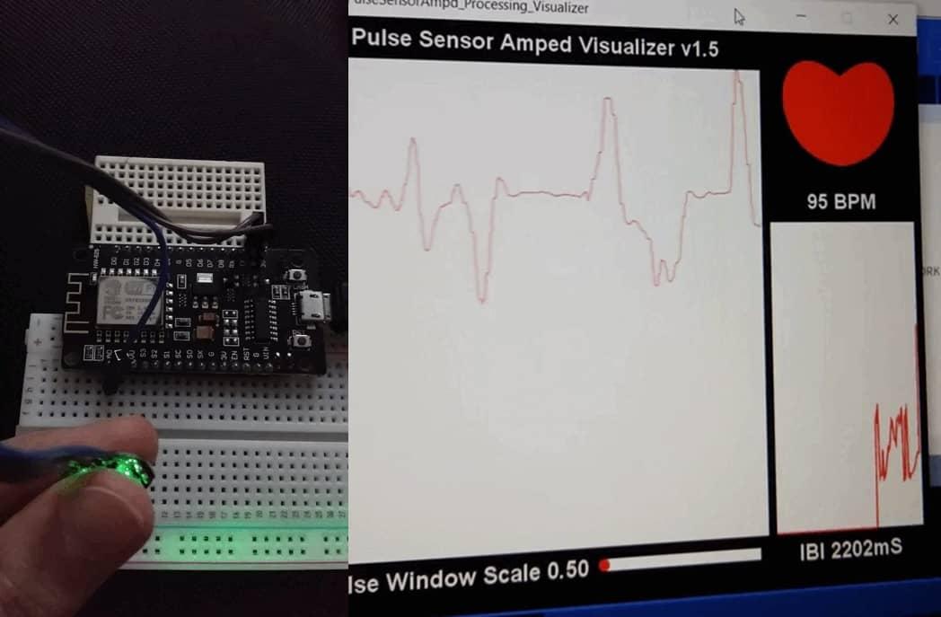 Pulse sensor with ESP8266 NodeMCU detect heart rate