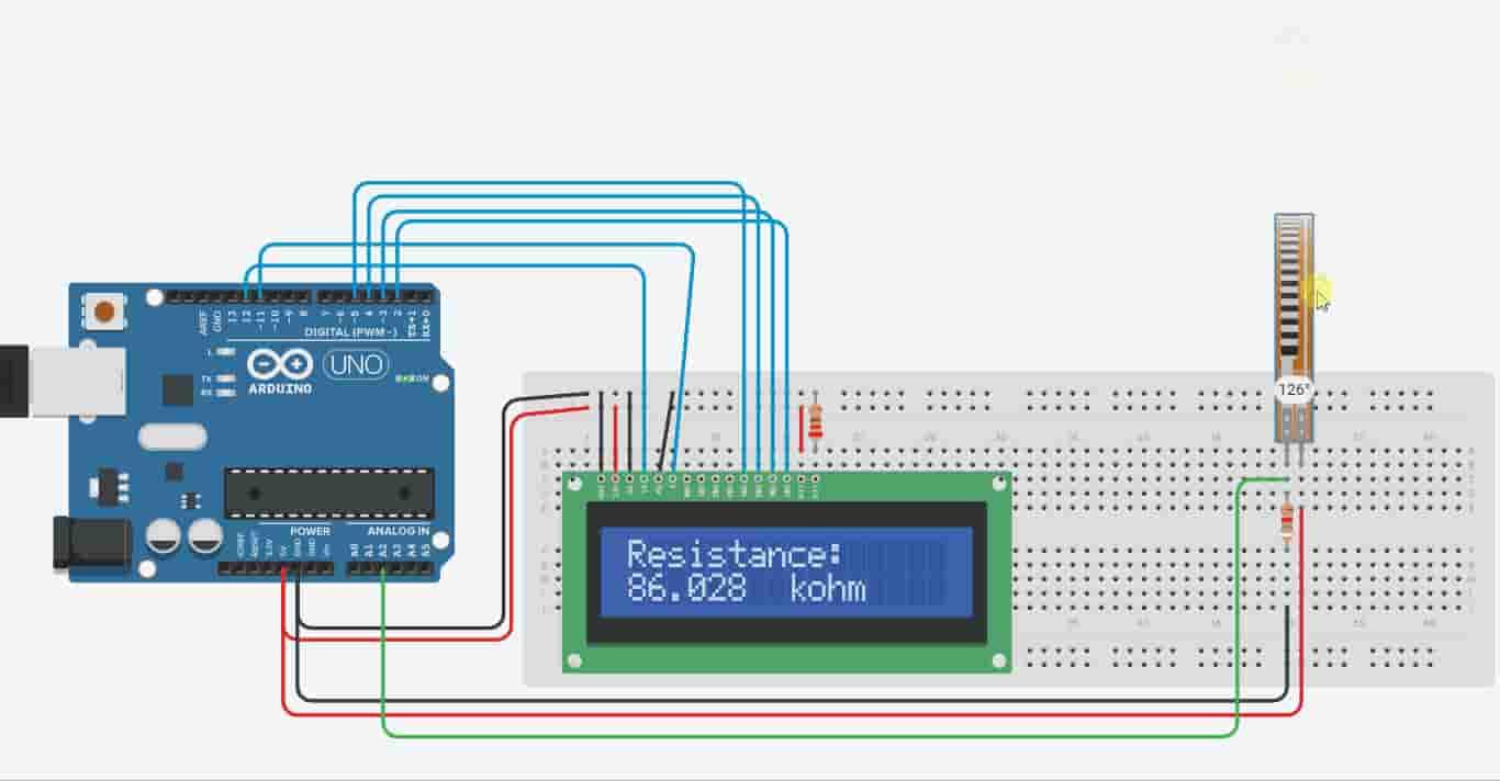 display flex sensor resistance angle on 16x2 LCD Arduino