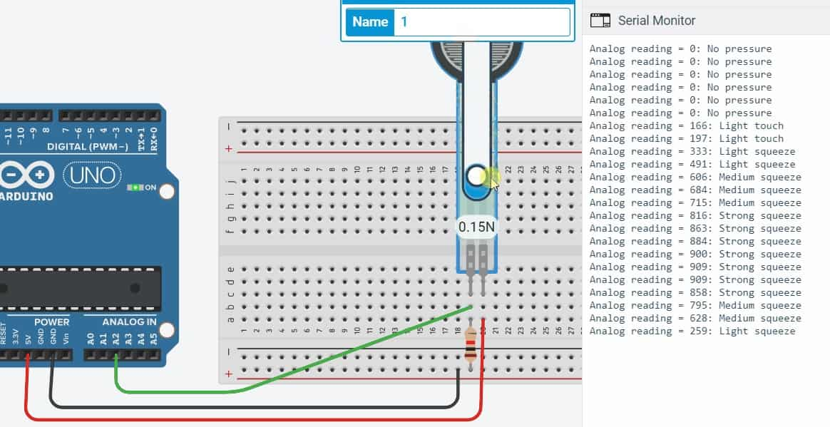 display force sensor output on Arduino serial monitor