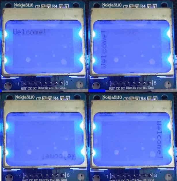 displaying rotating text nokia 5110 LCD Arduino