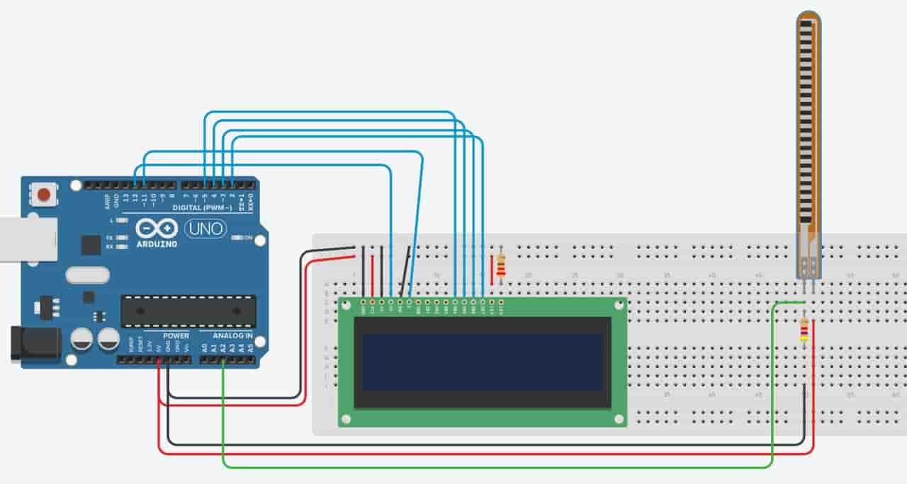flex sensor interfacing with Arduino and LCD