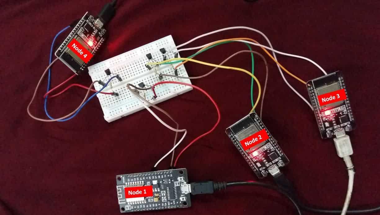 ESP-MESH exchange sensor readings esp32 and esp8266