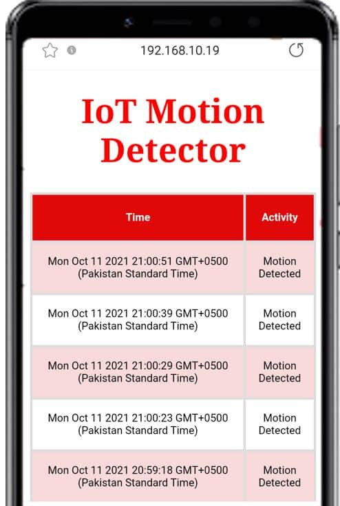 ESP32 IoT Motion detection with web server