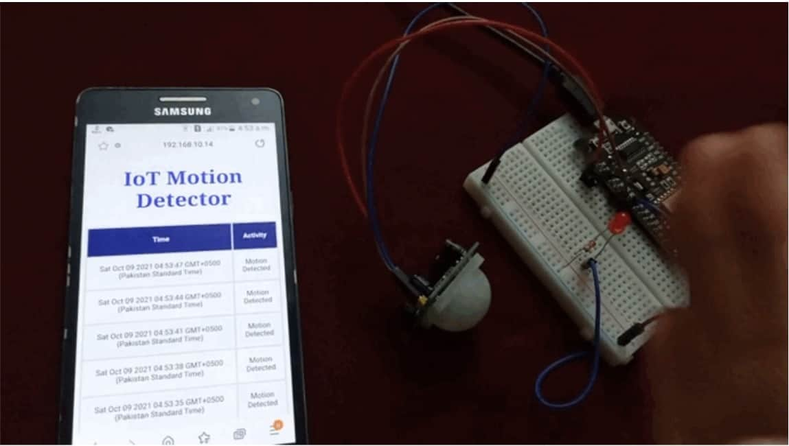 ESP8266 IoT motion detection web server with email alert