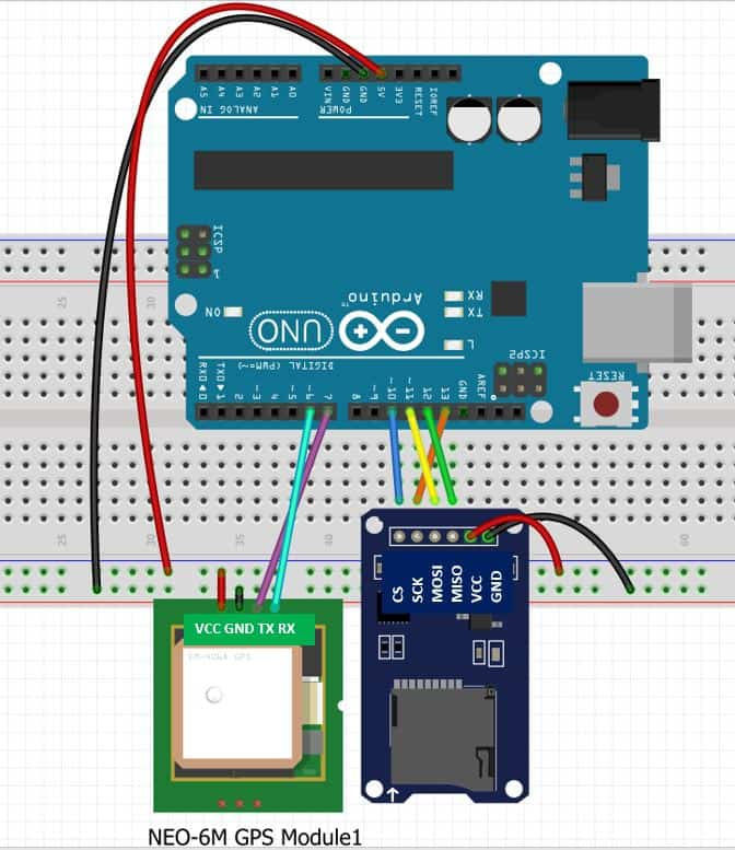 GPS Data Logger with Arduino and Micro SD Card Schematic diagram