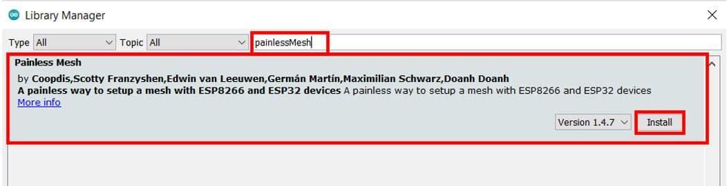 Installing painlessMesh library (ESP-MESH)
