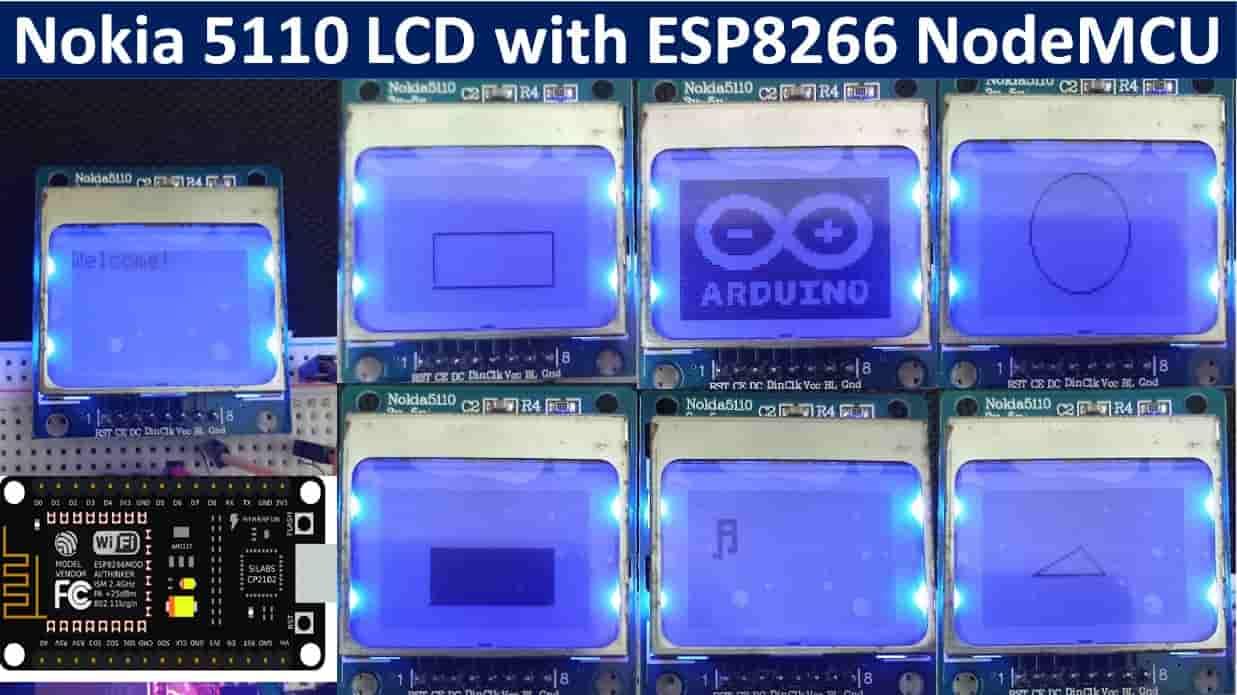 Nokia 5110 LCD ESP8266 NodeMCU tutorial