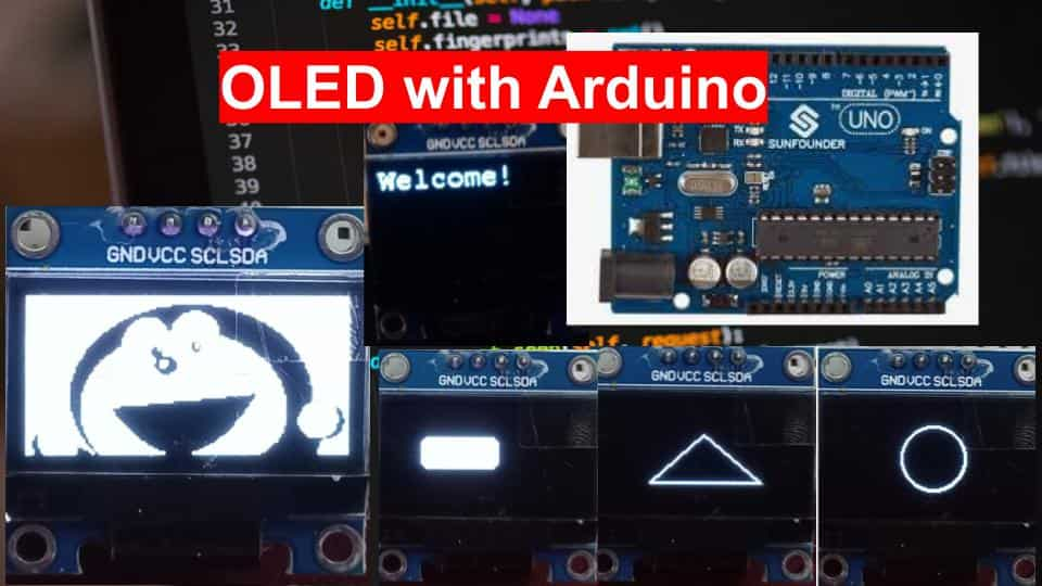 OLED interfacing with Arduino display text images shapes