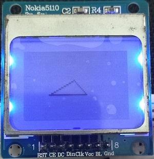 esp8266 nodemcu Nokia 5110 LCD display triangle